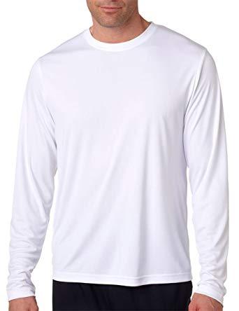 Hanes Men's Long Sleeve Cool Dri T-Shirt UPF 50+, Large, 2 Pack, 1