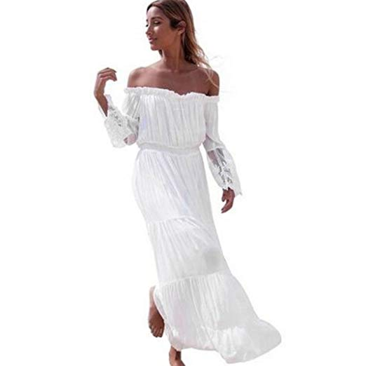 Napoo Women Off Shoulder Patchwork Strapless Lace Sheer Long Sleeve