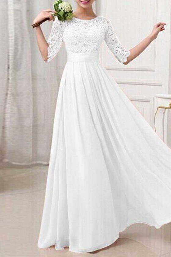 White Patchwork Lace Hollow-out Half Sleeve Bridesmaid Elegant Prom
