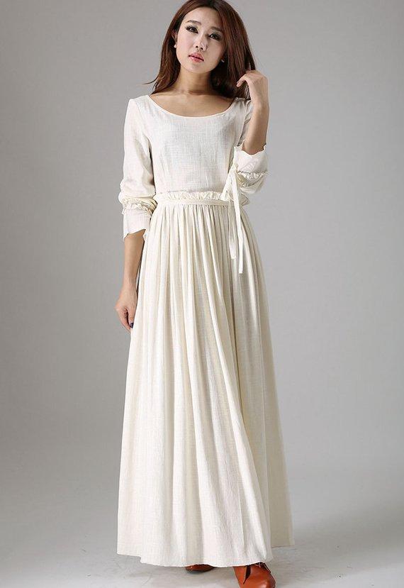 White maxi dress wedding dress bridesmaid dress long sleeve | Etsy