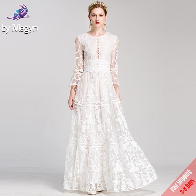 High Quality Runway Fashion Designer Winter Maxi Dresses Women's