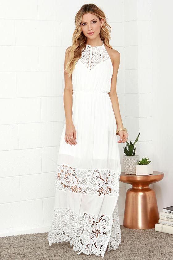 Ivory Dress - Maxi Dress - Lace Dress - Halter Dress - White Dress