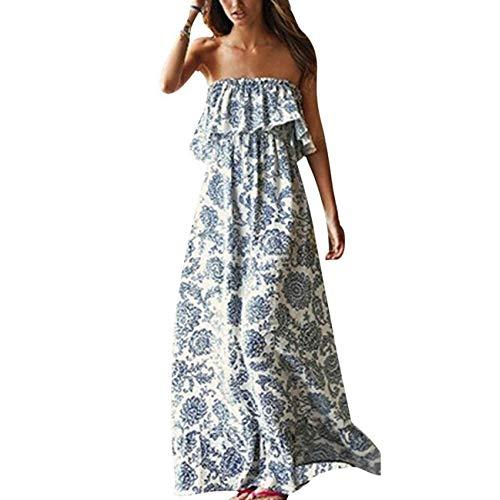 Women's Blue and White Maxi Dress: Amazon.com