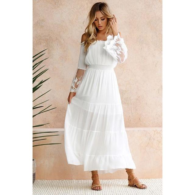 Moonbiffy Summer Sundress Long Women White Beach Dress Strapless