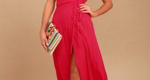 Lovely Red Dress - Surplice Wrap Dress - Maxi Dress