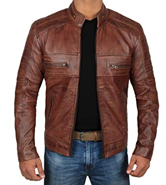 Brown Leather Jacket for Men - Distressed Genuine Motorcycle Leather