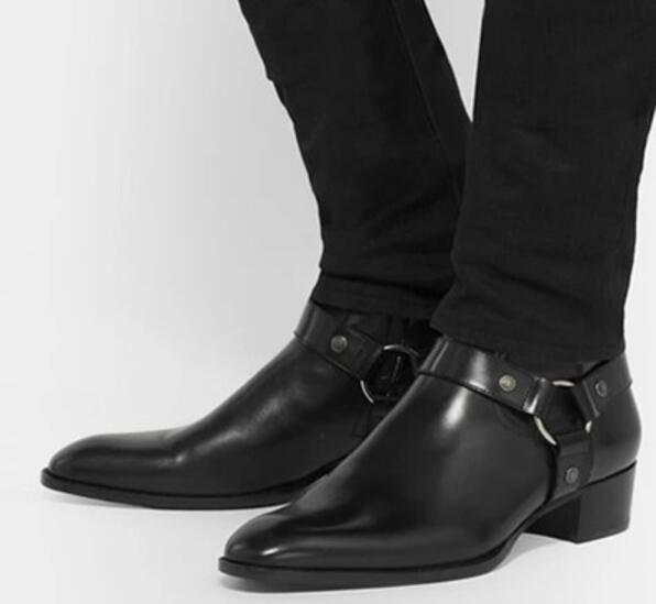 2017 European Station Chelsea Boots Pointed Toe Black Leather Boots