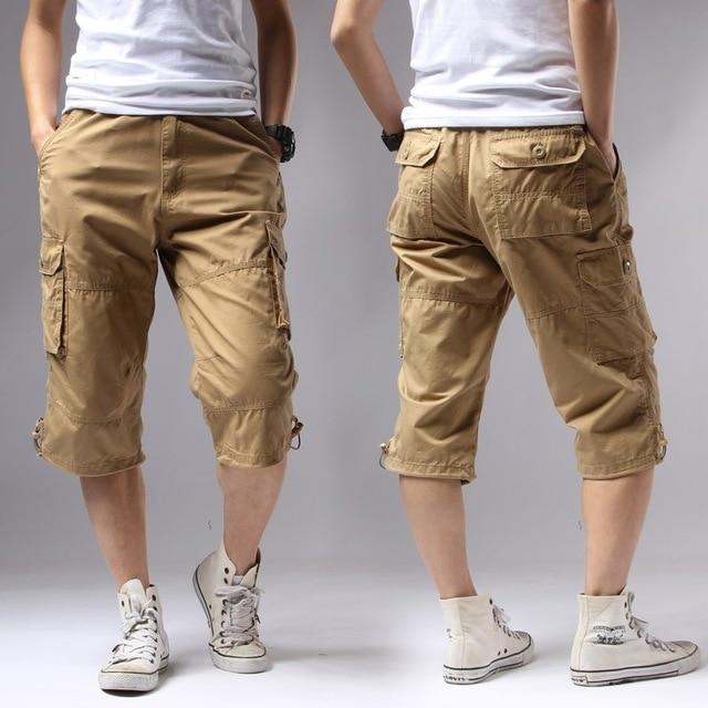 ICPANS Casual Shorts Regular Solid Pockets Khaki Black Cotton Shorts