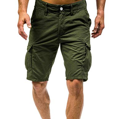 Perman Mens Cargo Shorts, Summer Relaxed Fit Multi Pockets Solid