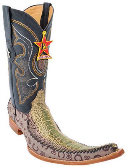 Mens Western Cowboy Boots Los Altos Genuine Ostrich Leg Fashion