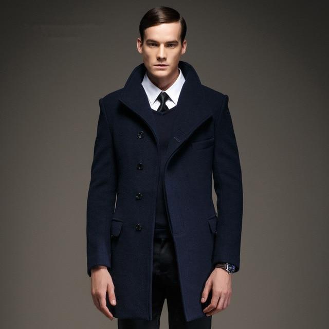 Fashion Mens Pea Coat Jacket Wool & Blends 2016 New Long Wool Coat