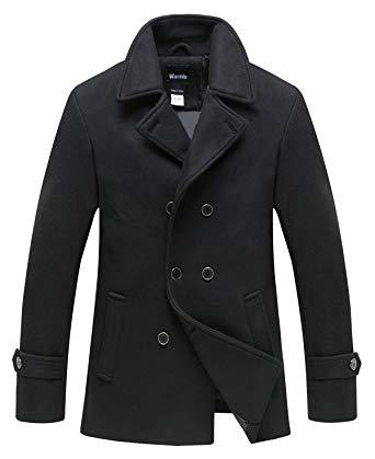 Wantdo Men's Peacoat Jacket Double Breasted Fit Lapel Warm Classic