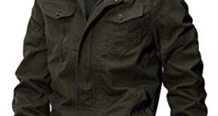 WULFUL Men's Cotton Military Jackets Casual Outdoor Coat Windbreaker