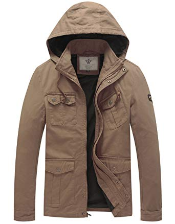 WenVen Men's Hooded Cotton Military Jackets at Amazon Men's Clothing