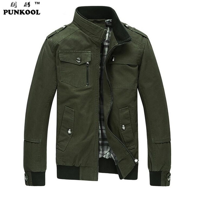 PUNKOOL Military Men Jacket Army Winter Outerwear College Military