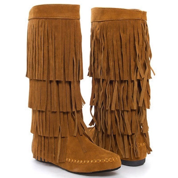 Shoes | Black Mid Calf Knee High Fringe Flat Moccasin Boot | Poshmark