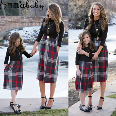 MOMMY AND ME Outfits Mother Daughter Matching Girl Striped Dress