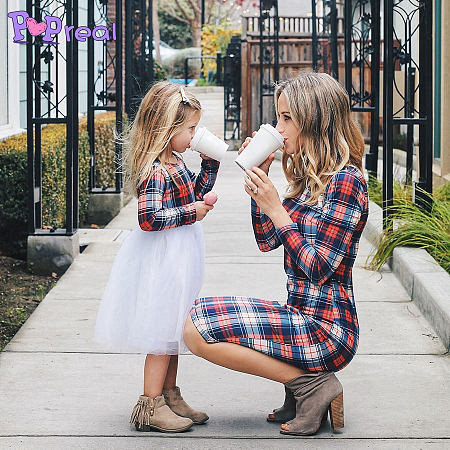 Mom Girl Plaid Tulle Matching Dress - popreal.com