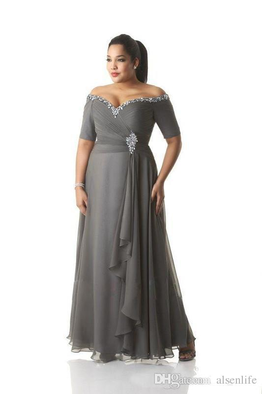 Grey Mother Of The Bride Dresses Plus Size Off The Shoulder Cheap