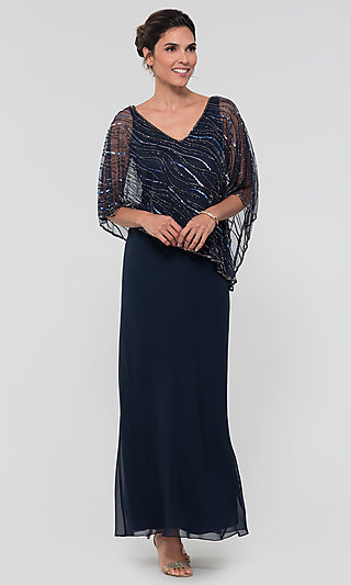 Mother-of-the-Bride Long Dress with Attached Cape