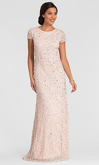 Long Pink Mother-of-the-Bride Adrianna Papell Dress
