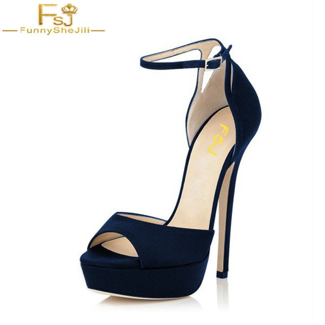 Shoes Woman Ankle Strap High Heels Sandals Navy Peep Toe Blue Red