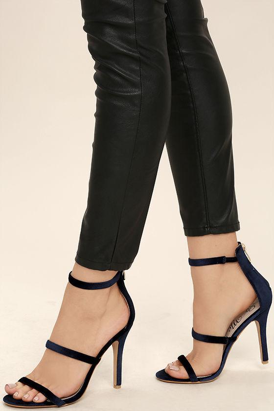 Chic Navy Heels - Velvet Heels - Ankle Strap Heels - $36.00