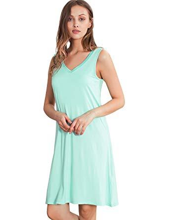 GYS Womens Bamboo Viscose Sleeveless V Neck Nightgown at Amazon