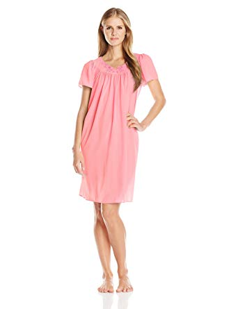 Miss Elaine Tricot Nightgown, Short Sleep Dress with Comfortable
