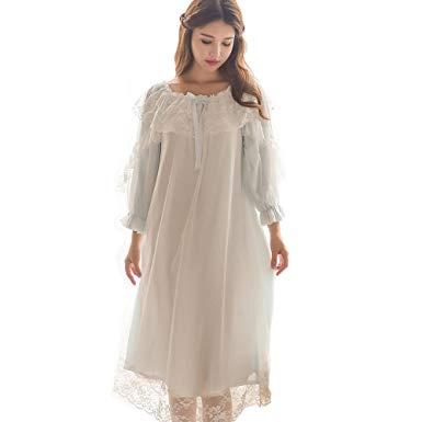 Women's Victorian Nightgown Vintage Sleepwear Lace Chemise Lounge