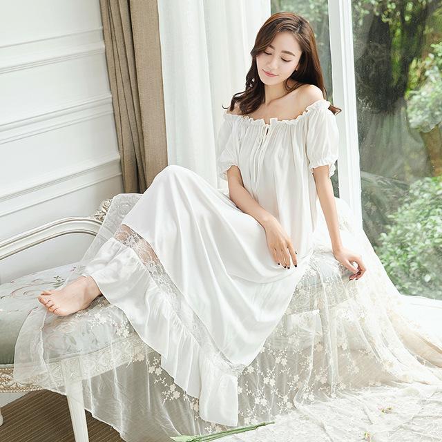 Vintage Princess Nightgown Pyjamas Women's Lace Ruffles Sleepwear