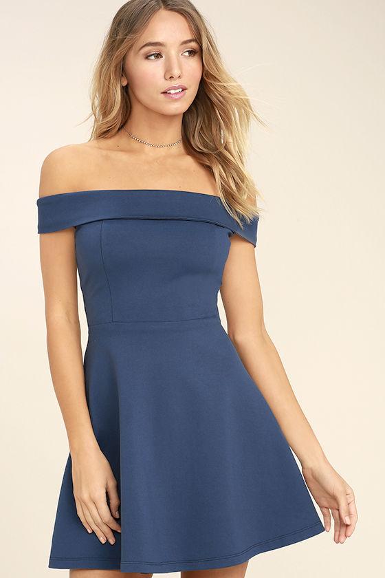 Cute Denim Blue Dress - Off-the-Shoulder Dress - Skater Dress - $52.00