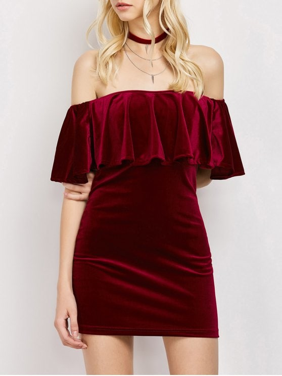 31% OFF] 2019 Women Velvet Off The Shoulder Bodycon Dress In WINE