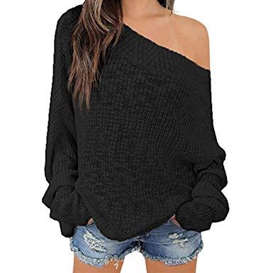 Exlura Women's Off Shoulder Sweater Batwing Sleeve Loose Oversized