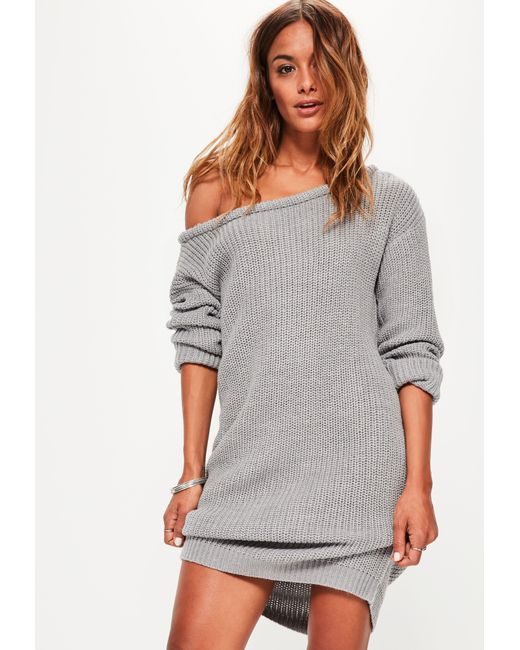 Lyst - Missguided Grey Off Shoulder Knitted Jumper Dress in Gray