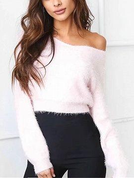 Shop Pink Off Shoulder Fluffy Long Sleeve Knit Jumper from choies