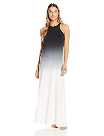 CSBLA Women's Rimini Ombre Maxi Dress, White/Black, Medium at Amazon