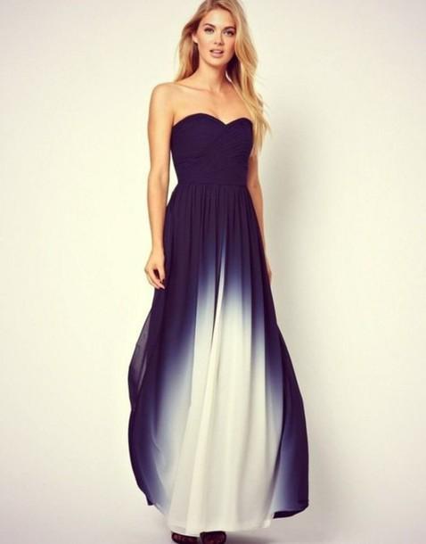 dress, ombre, maxi dress, navy, ombre dress, long prom dress