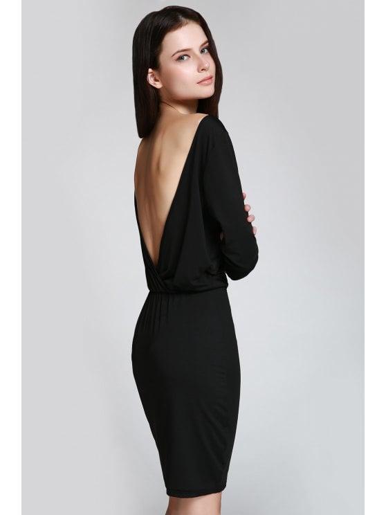 54% OFF] 2019 Open Back 3/4 Sleeve Bodycon Dress In BLACK XS | ZAFUL
