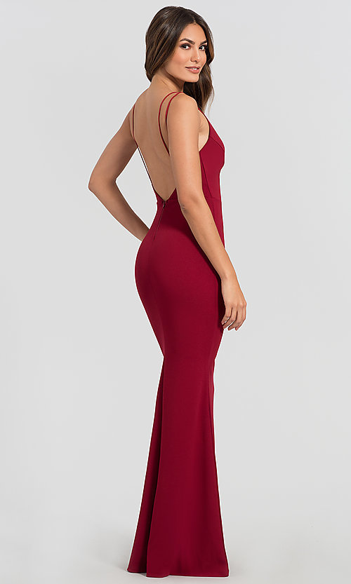 Formal Long Wedding-Guest Dress with Open Back
