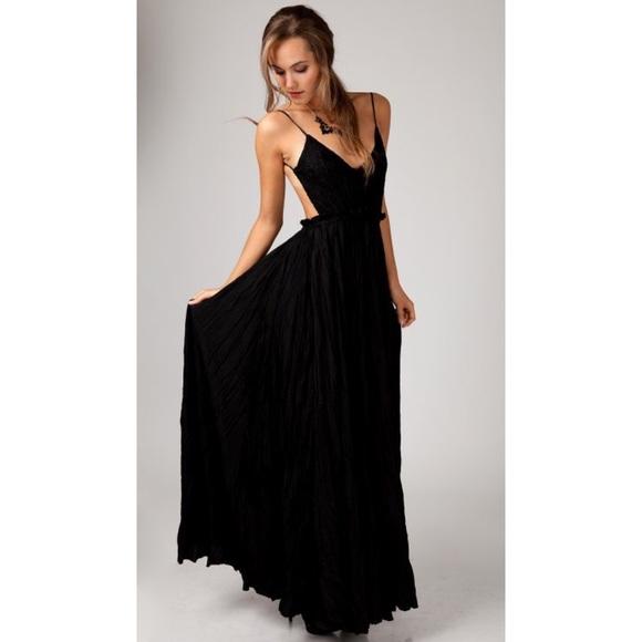 ANGL Dresses   Obo Lovely Crochet Lace Open Back Maxi Dress   Poshmark