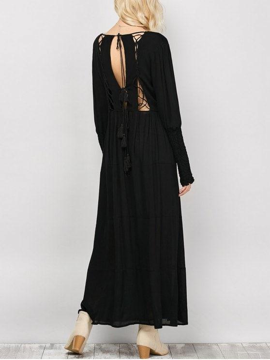 32% OFF] 2019 Long Sleeve Open Back Maxi Dress In BLACK S   ZAFUL