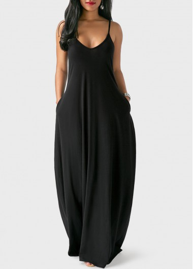 Open Back Pocket Decorated Black Maxi Dress   Rosewe.com - USD