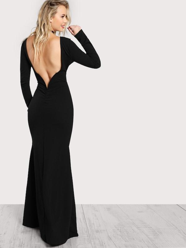 Long Sleeve Open Back Bodycon Maxi Dress   SHEIN