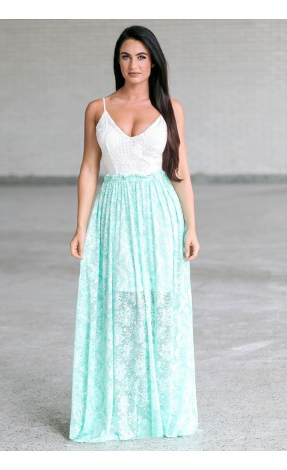 Mint Green and Ivory Open Back Maxi Dress, Cute Mint Summer Boutique