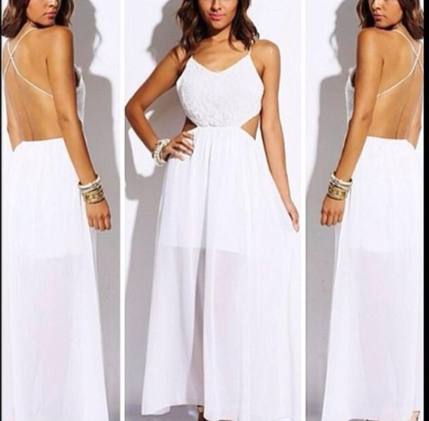dress, white dress, maxi dress, long dress, open back dresses