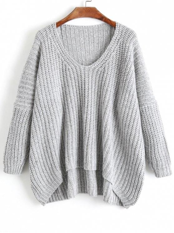 35% OFF] 2019 Chunky V Neck Oversized Sweater In GRAY ONE SIZE | ZAFUL