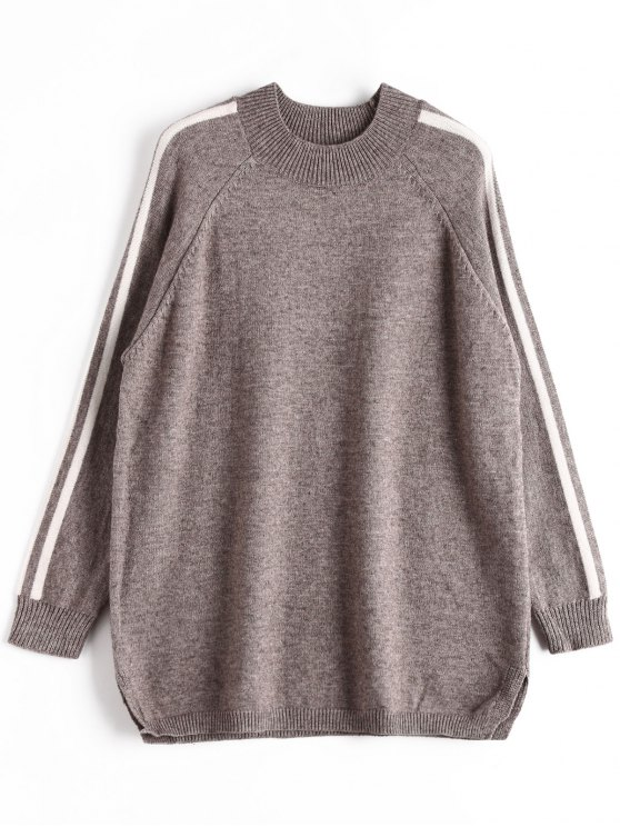 29% OFF] 2019 Striped Oversized Sweater In GRAY ONE SIZE | ZAFUL