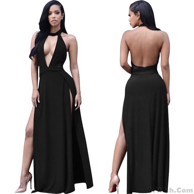 Sexy Halter Deep V Split Backless Women Party Long Dress   Fashion