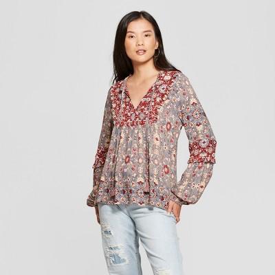 Women's Floral Print Long Sleeve Peasant Top - Knox Rose™ Gray : Target